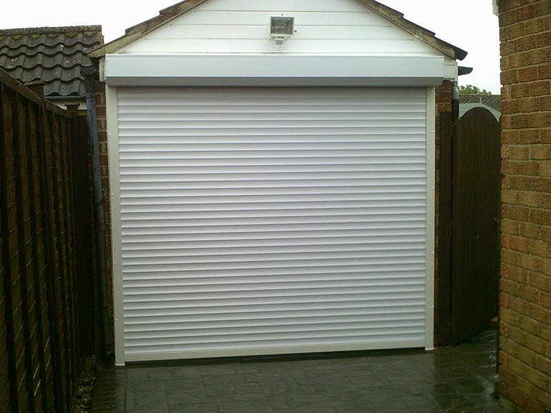 White Seceuroglide Remote Control Insulated Roller Garage Door (After)