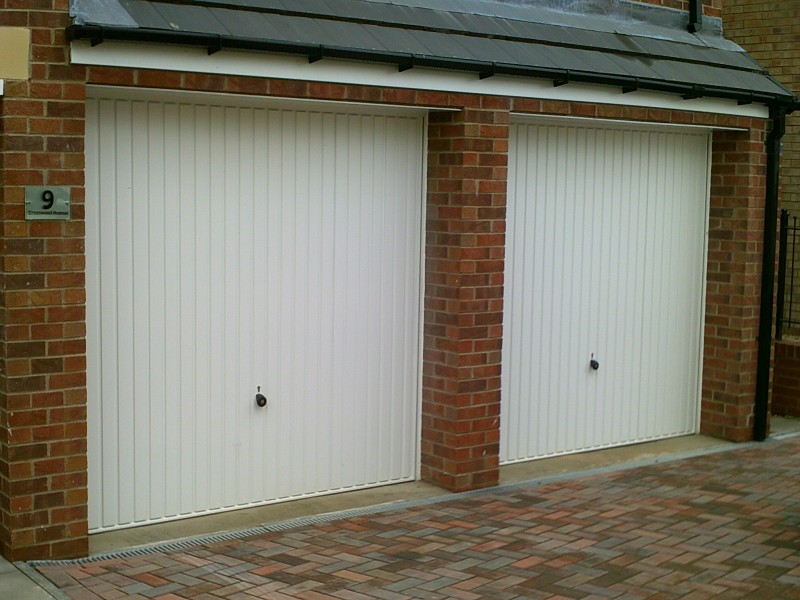 Seceuroglide White Remote Control Insulated Roller Garage Doors (Before)
