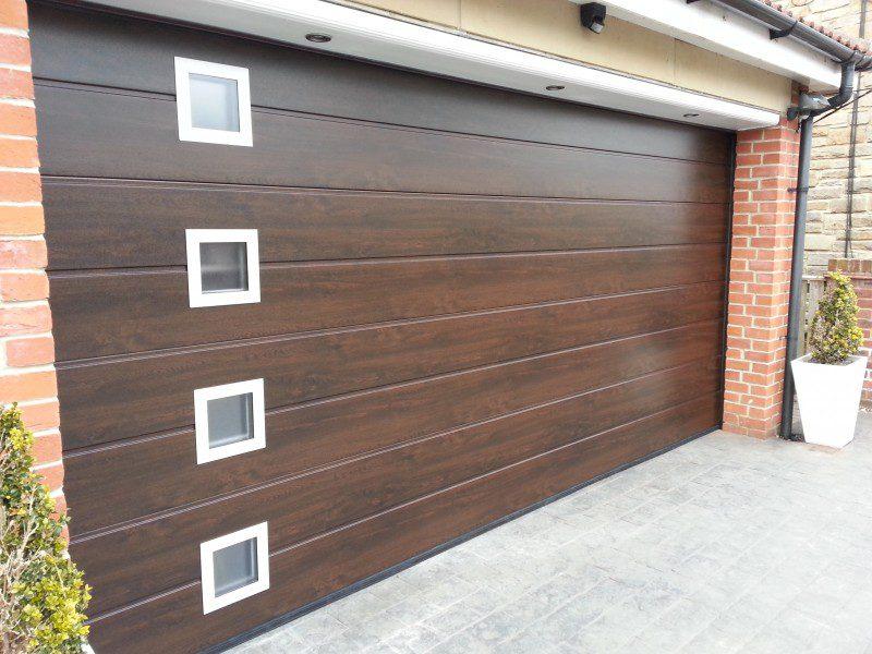 Night Oak Sectional Garage Door (After)