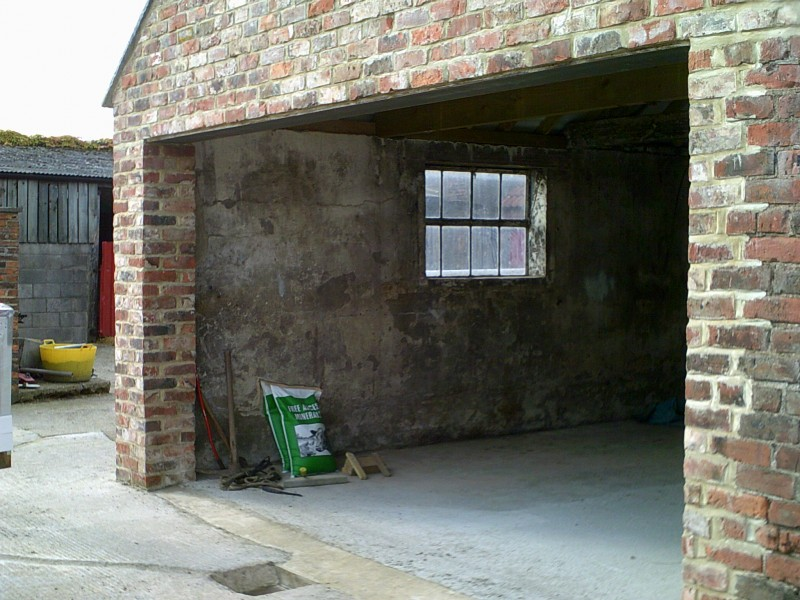 Red Double Insulated Sectional Garage Door (Before)