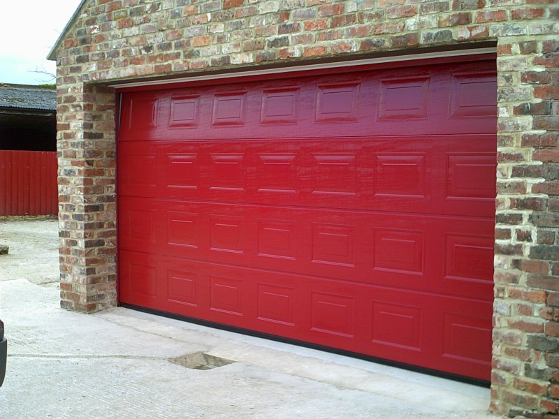Red Double Insulated Sectional Garage Door (After)