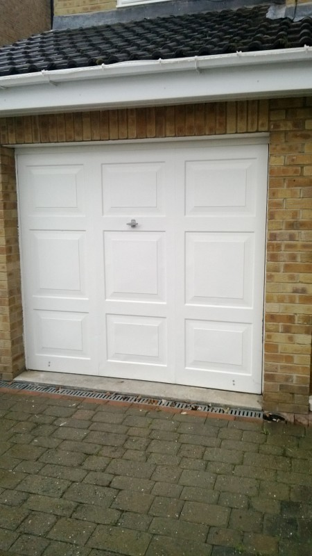 Cathedral up and over garage door (Before)