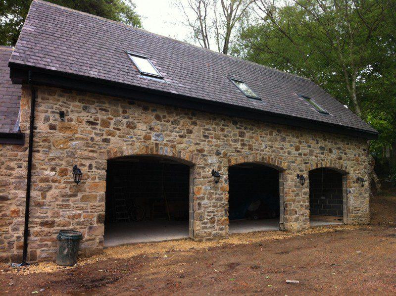 Golden Oak Sectional Garage Doors (Before)
