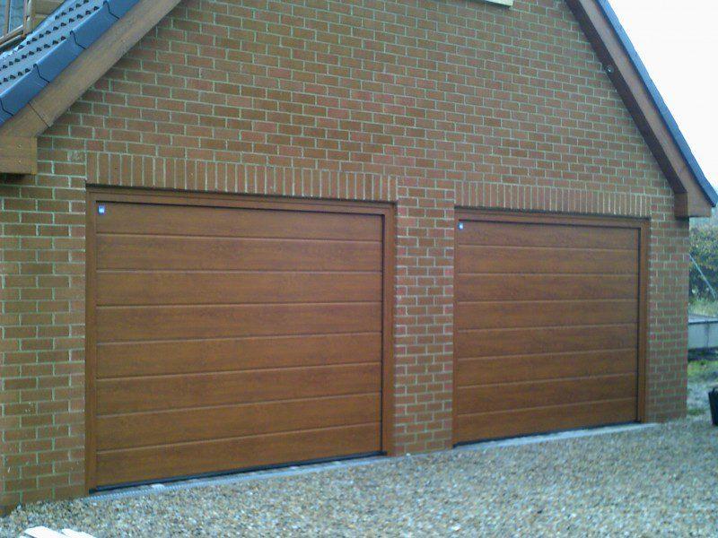 Golden Oak Sectional Garage Doors (After)