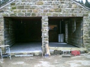 Cedar Timber Up and Over Garage Door  (Before)