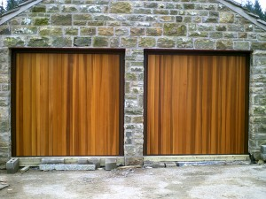 Cedar Timber Up and Over Garage Door  (After)