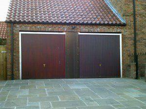 Steel Blue Georgian Sectional Garage Door (Before)