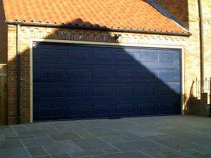 Steel Blue Georgian Sectional Garage Door (After)