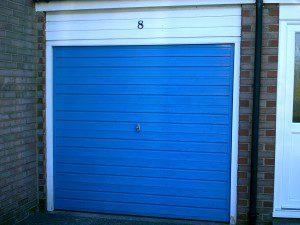 White Single Skin Roller Garage Door (Before)
