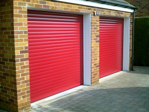 Red Insulated Roller Garage Doors (After)