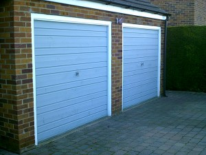 Red Insulated Roller Garage Doors (Before)