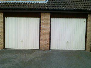 White Georgian Sectional Garage Door (Before)