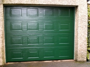 Moss Green Georgian Sectional Garage Door (After)