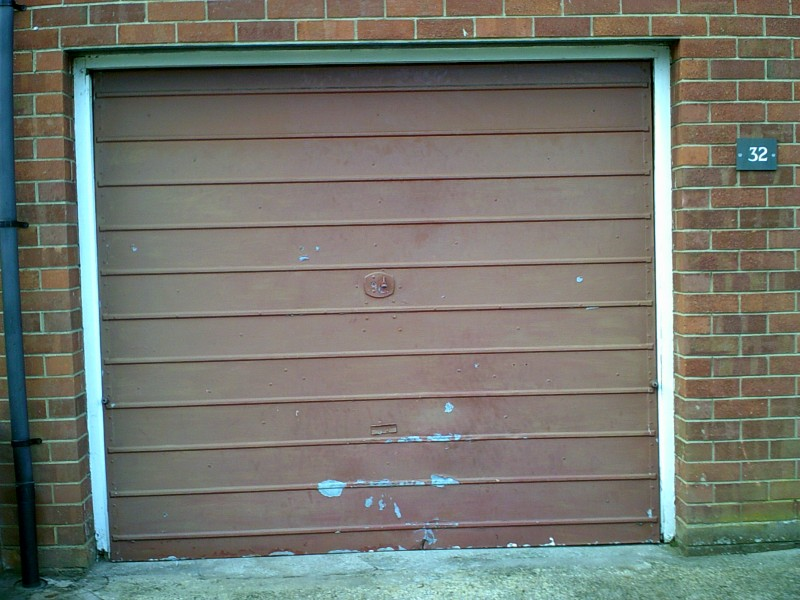 Rosewood Coloured Roller Garage Door (Before)