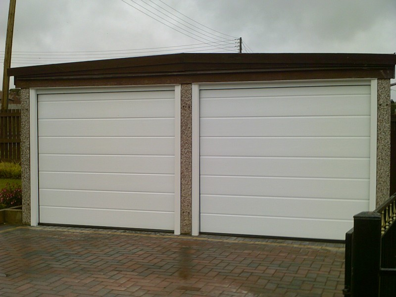 White Linear Sectional Garage Doors (After)
