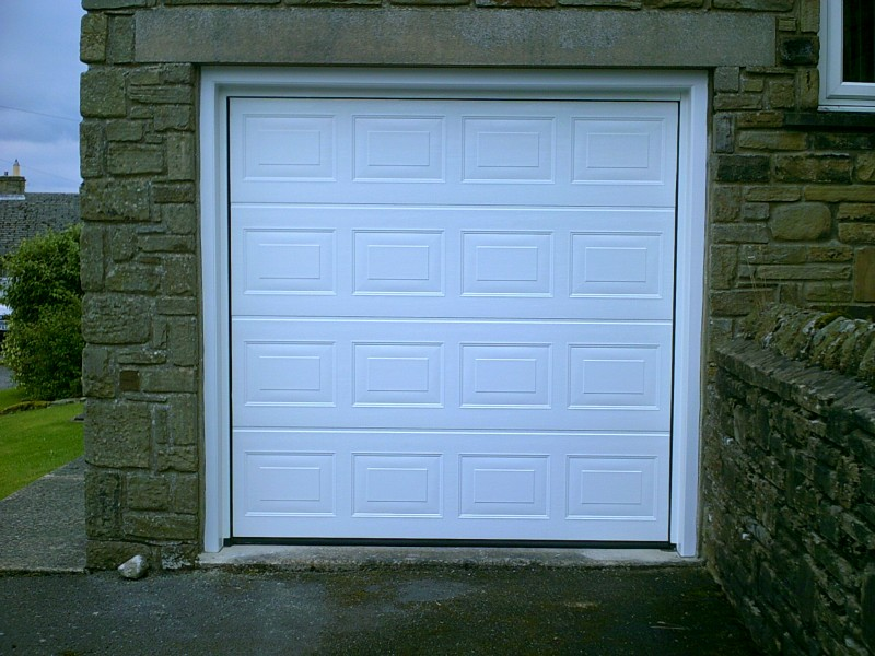 White Georgian Sectional Garage Door (After)