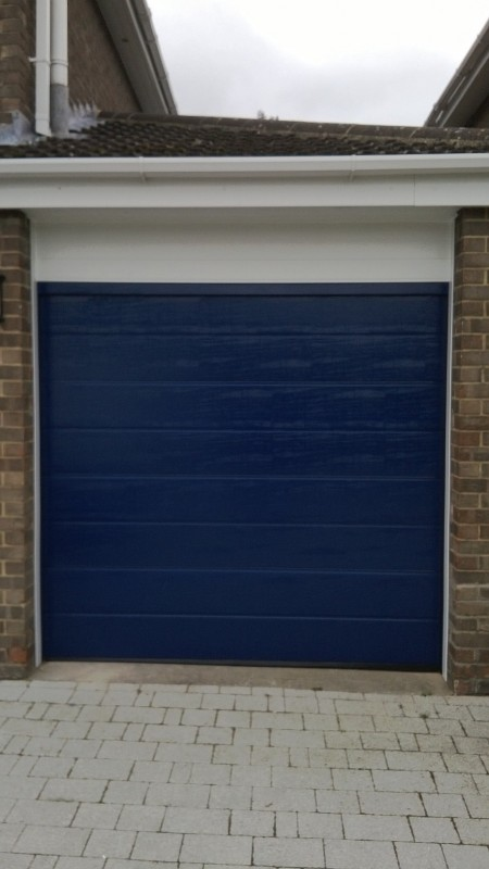 Blue Sectional Garage Door (After)