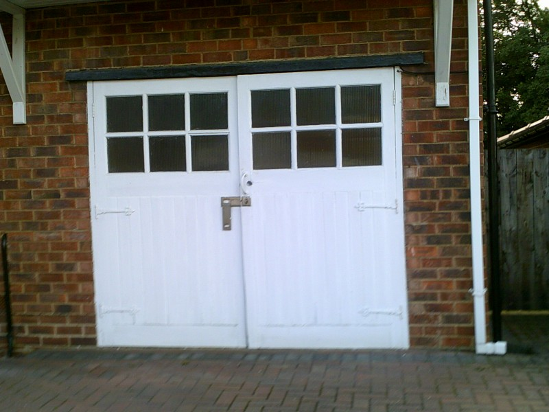 White Seceuroglide Remote Control Insulated Roller Garage Door  (Before)