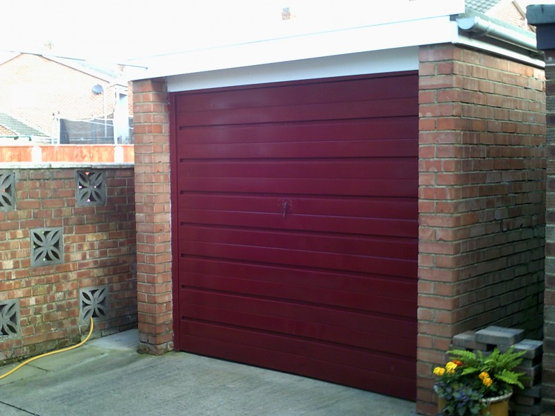 Red Up and Over Garage Door (Before)