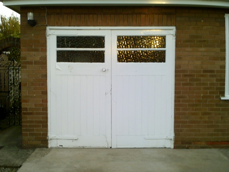 White up and over Rib Style Up and Over Garage Door (Before)
