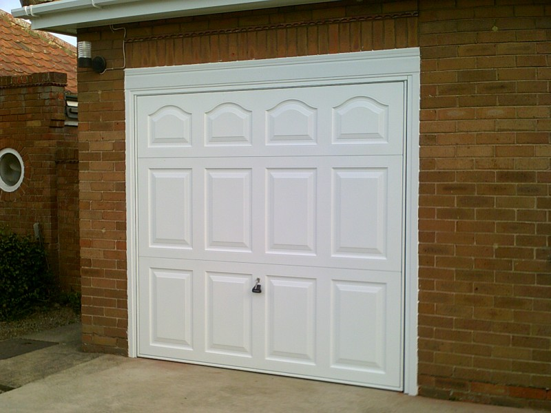 White up and over Rib Style Up and Over Garage Door (After)