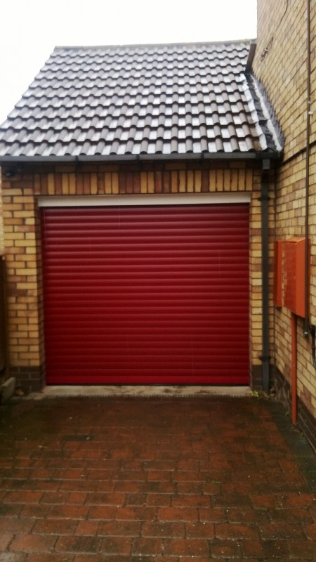 Red Insulated Roller Door (After)