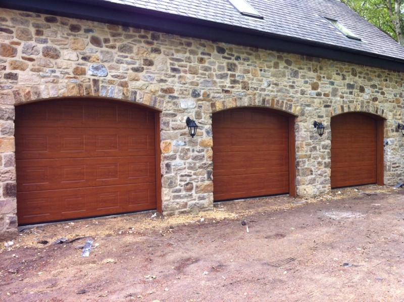 Golden Oak Sectional Garage Doors (After)