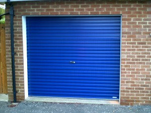 Blue Single Skin Roller Garage Door (After)