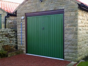 Green Carlton Up and Over Garage Door  (Before)