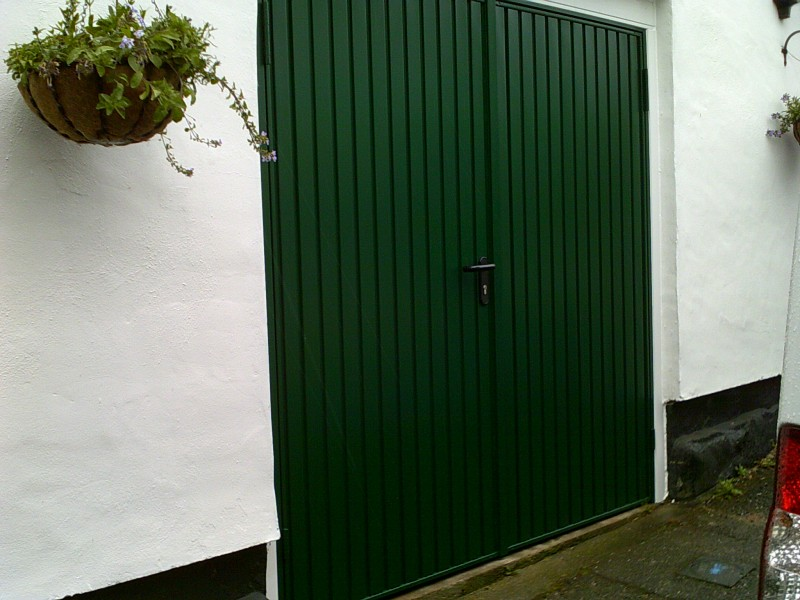 Green Insulated Rib Side Hinged Garage Doors (After)