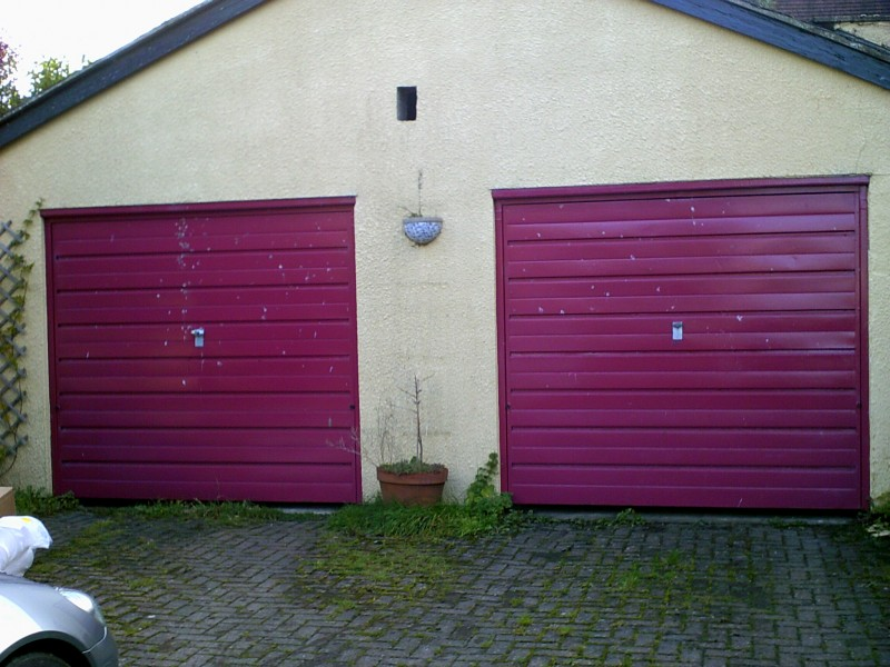 Red Insulated Roller Door (Before)