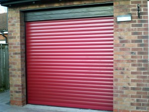 Red Insulated Roller Garage Door (After)