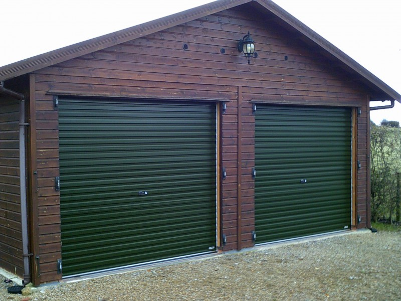 Single Skin Juniper Green Roller Doors (After)