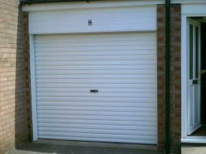 White Single Skin Roller Garage Door (After)