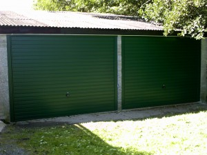 Green Retractable Garage Door (After)
