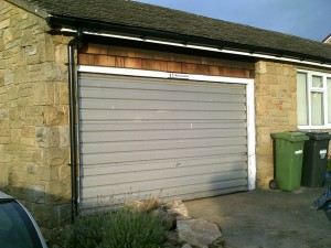 White Insulated Roller Garage Door (Before)