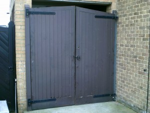 Brown Side-Hinged Garage  Door (Before)