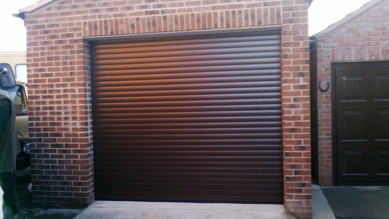 Rosewood Laminated Insulated Roller Door (After)