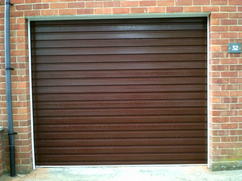 Rosewood Coloured Roller Garage Door (After)